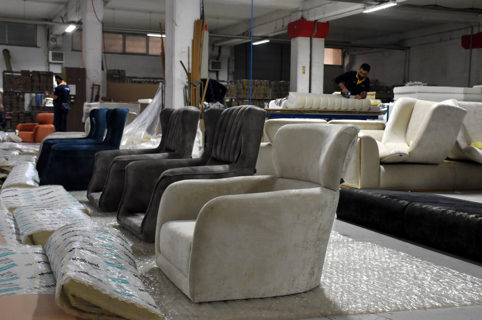Armchairs can be seen in a Turkish furniture manufacturing facility as Turkish producers seek to expand their share in the U.S. market, June 4, 2020. (AA Photo)
