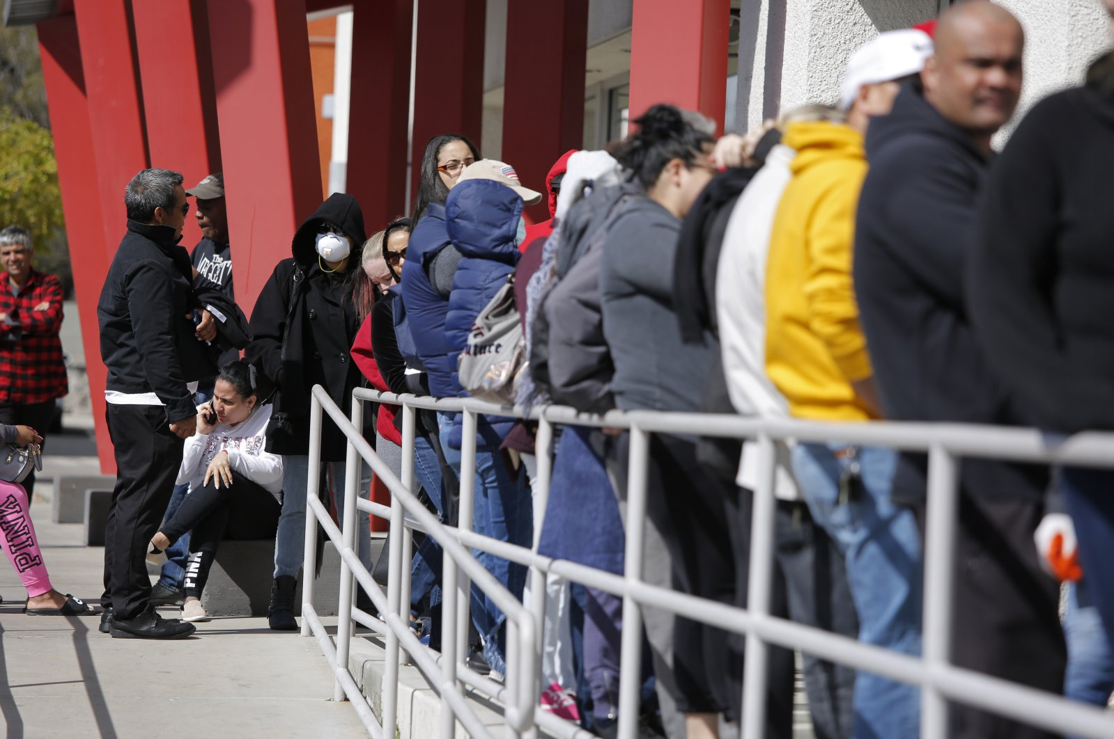 People wait in line for help with unemployment benefits at the One-Stop Career Center in Las Vegas, Nevada, U.S., March 17, 2020. (AP Photo)