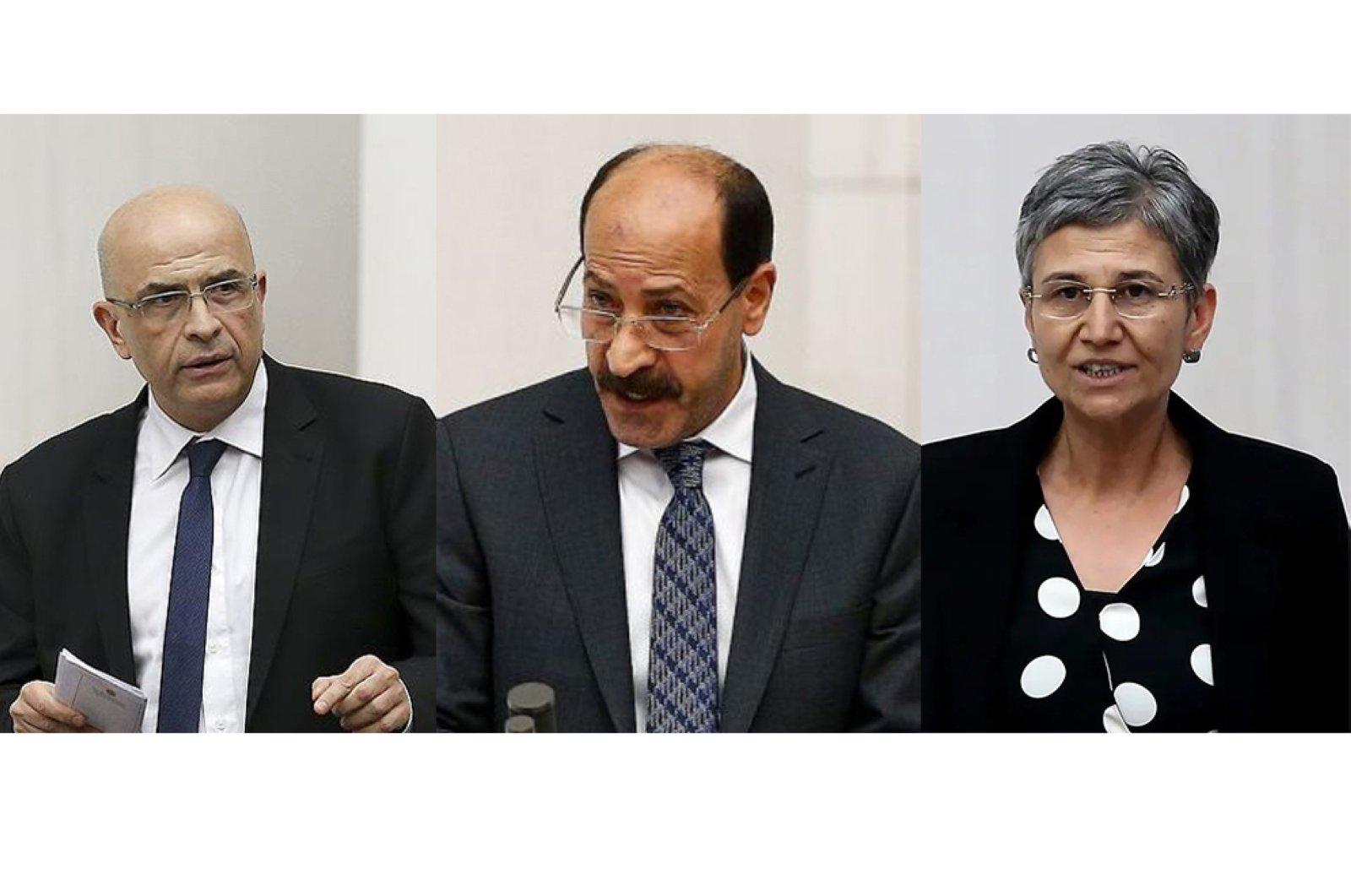 Former People's Republican Party (CHP) deputy Enis Berberoğlu (L), former Peoples' Democratic Party (HDP) deputy Musa Farisoğulları (C) and former HDP deputy Leyla Güven (R) are seen in undated file photos.