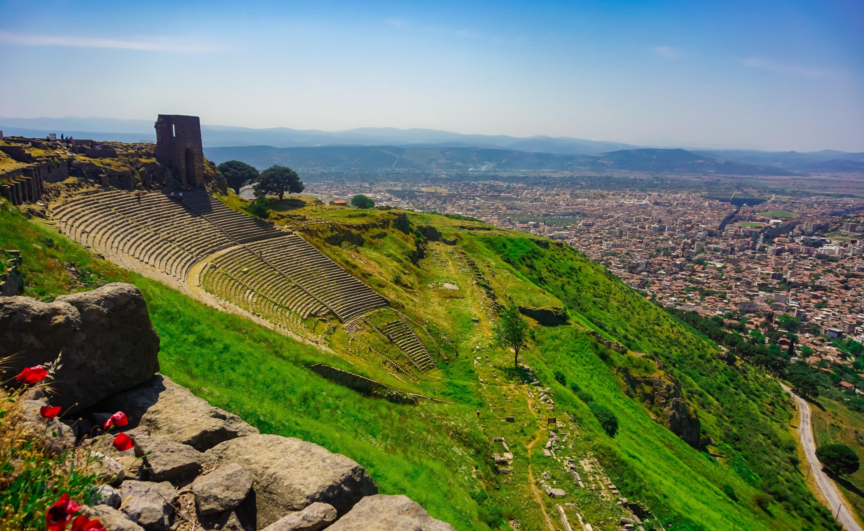 The theater of the ancient city of Pergamon overlooks the city landscape. (iStock Photo / Servet Turan)