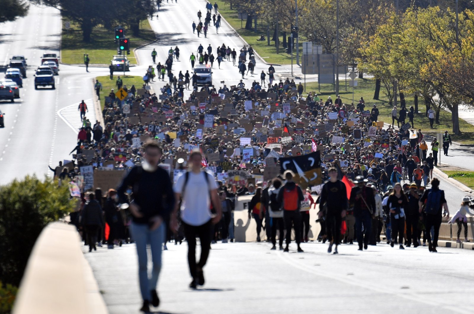 Black Lives Matter protesters march toward Parliament House in Canberra, Australia, June 5, 2020. (EPA Photo)
