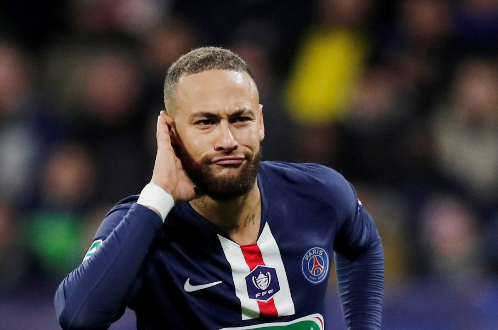 Paris Saint Germain's Neymar celebrates scoring a goal during Coupe de France semifinal football match between Olympique Lyonnais and Paris Saint Germain at the Groupama Stadium in Lyon, France, March 4, 2020. (Reuters Photo)