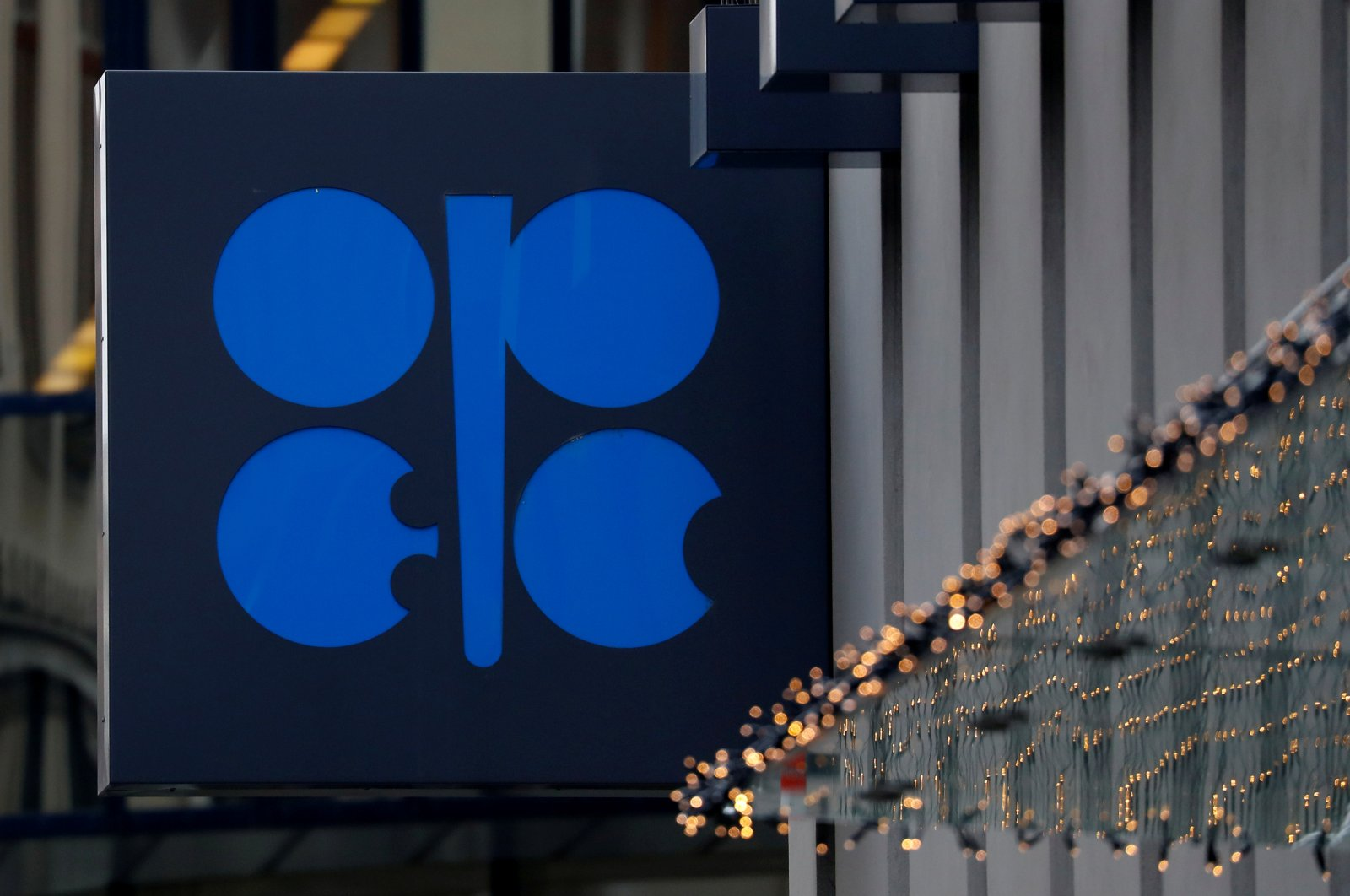 The logo of the Organization of the Petroleum Exporting Countries (OPEC) outside its headquarters in Austria, Dec. 6, 2019. (Reuters Photo)