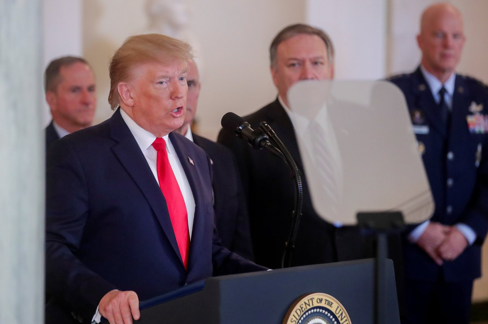 U.S. President Donald Trump delivers a statement in the Grand Foyer at the White House, Washington, D.C., U.S., Jan. 8, 2020. (Reuters Photo)