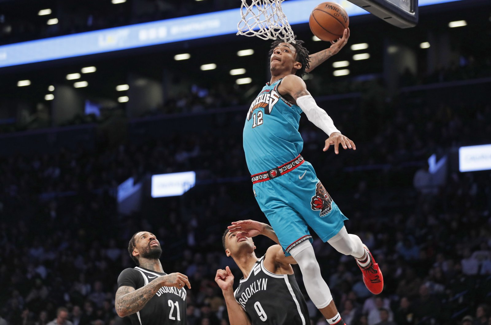 Memphis Grizzlies guard Ja Morant goes up for a dunk during an NBA game in New York City, New York, U.S., March 4, 2020. (AP Photo)