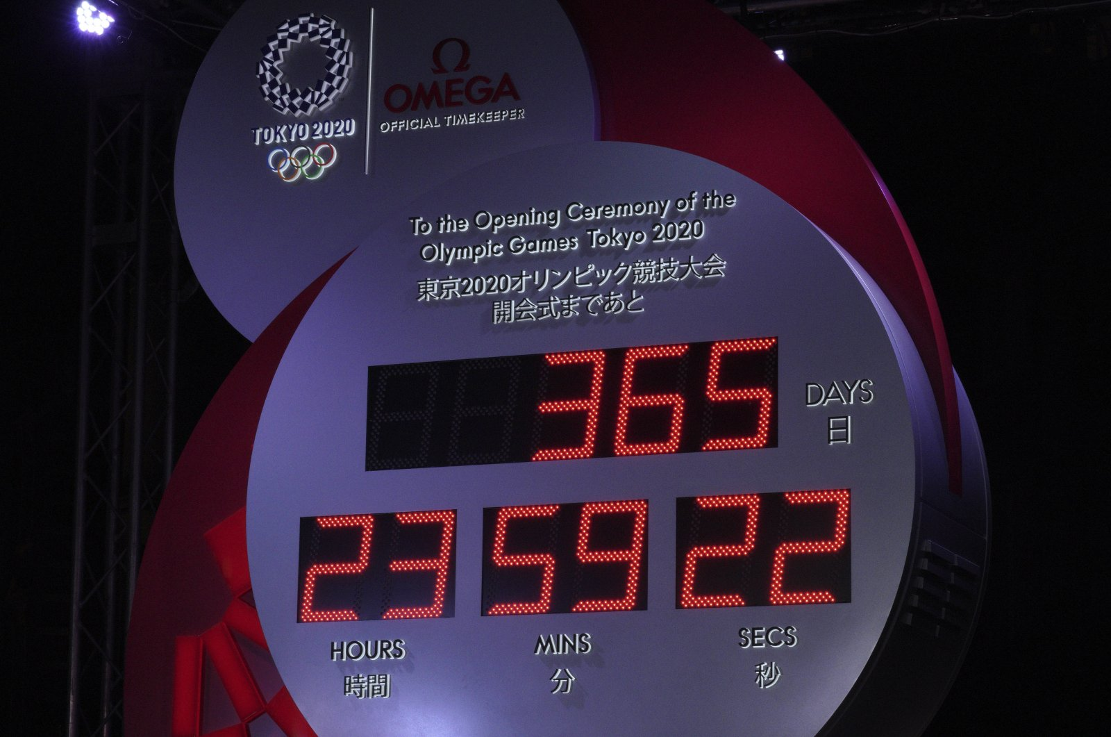 Unveiled countdown clock is shown during the Tokyo 2020 Countdown Clock presentation in Tokyo, Japan, July 24, 2019. (AP Photo)