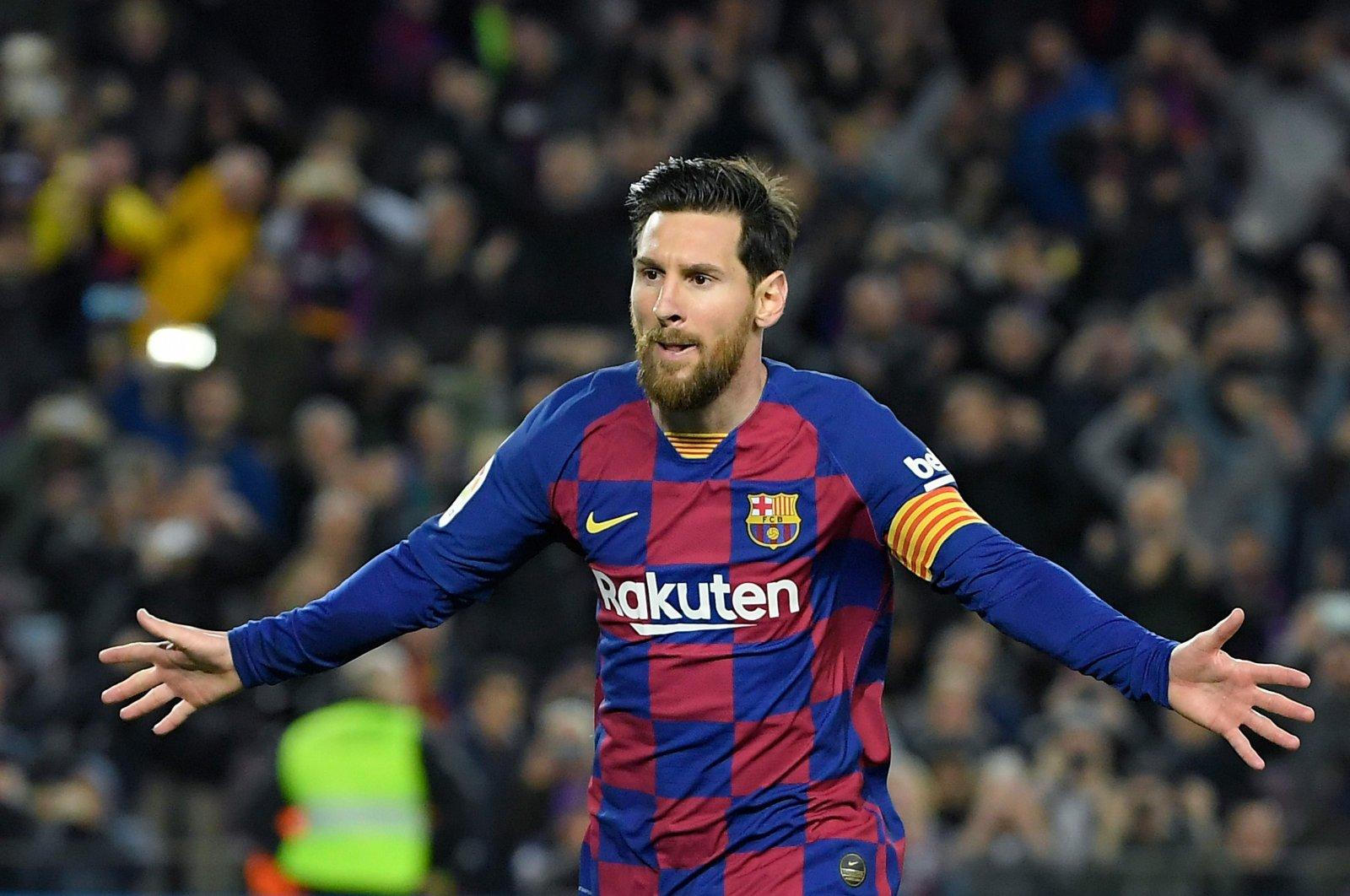 Lionel Messi celebrates a goal during a La Liga match in Barcelona, Spain, March 7, 2020. (AFP Photo)