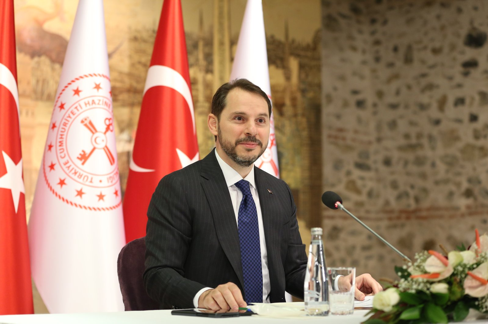 Treasury and Finance Minister Berat Albayrak during a meeting with journalists, Istanbul, Turkey, June 5, 2020. (Treasury and Finance Ministry via AA)