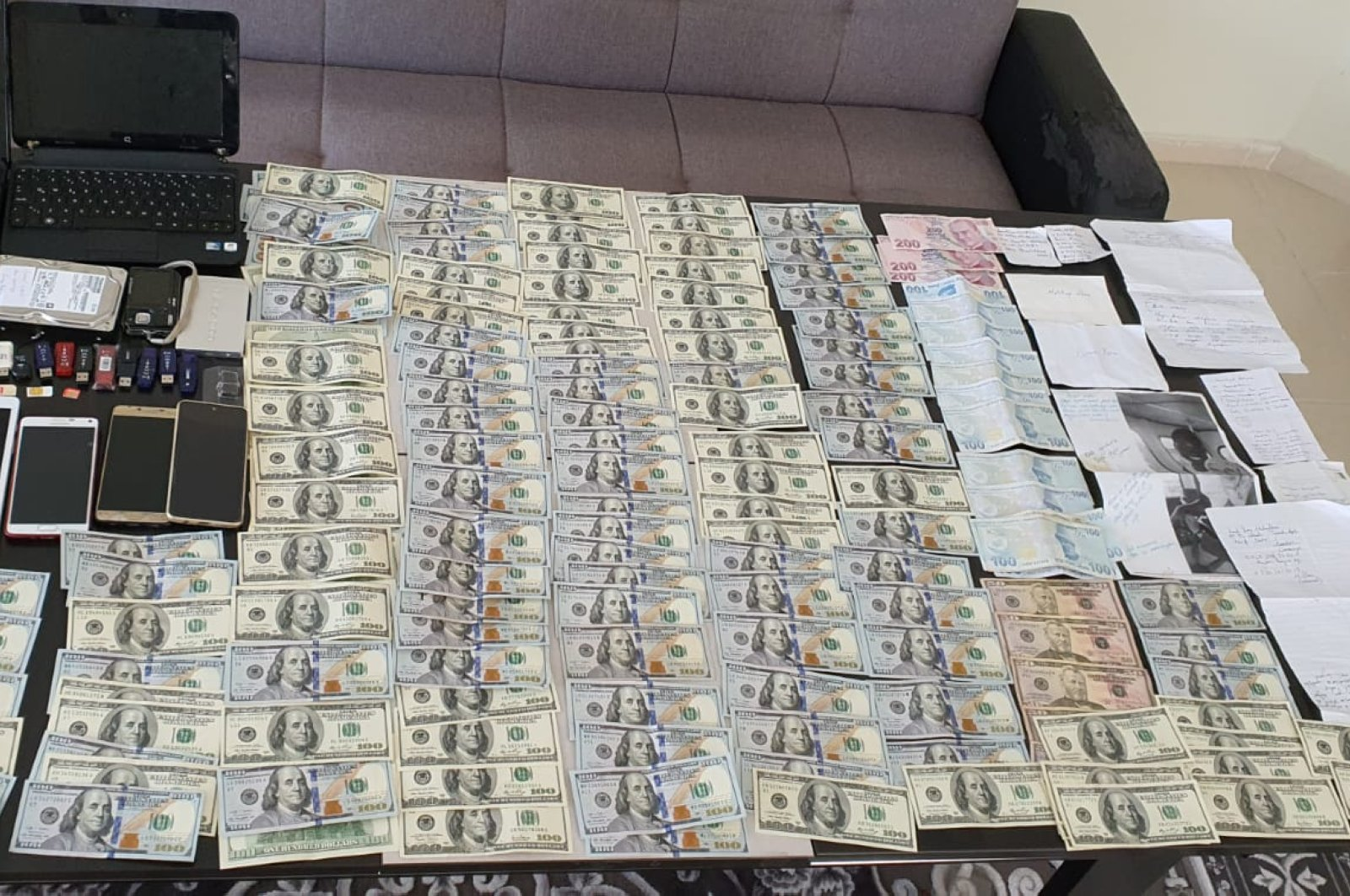 Security forces display evidence seized, including large amounts of cash in foreign currency, belonging to one of the FETÖ suspects in Mersin, Turkey, June 6, 2020. (AA Photo)