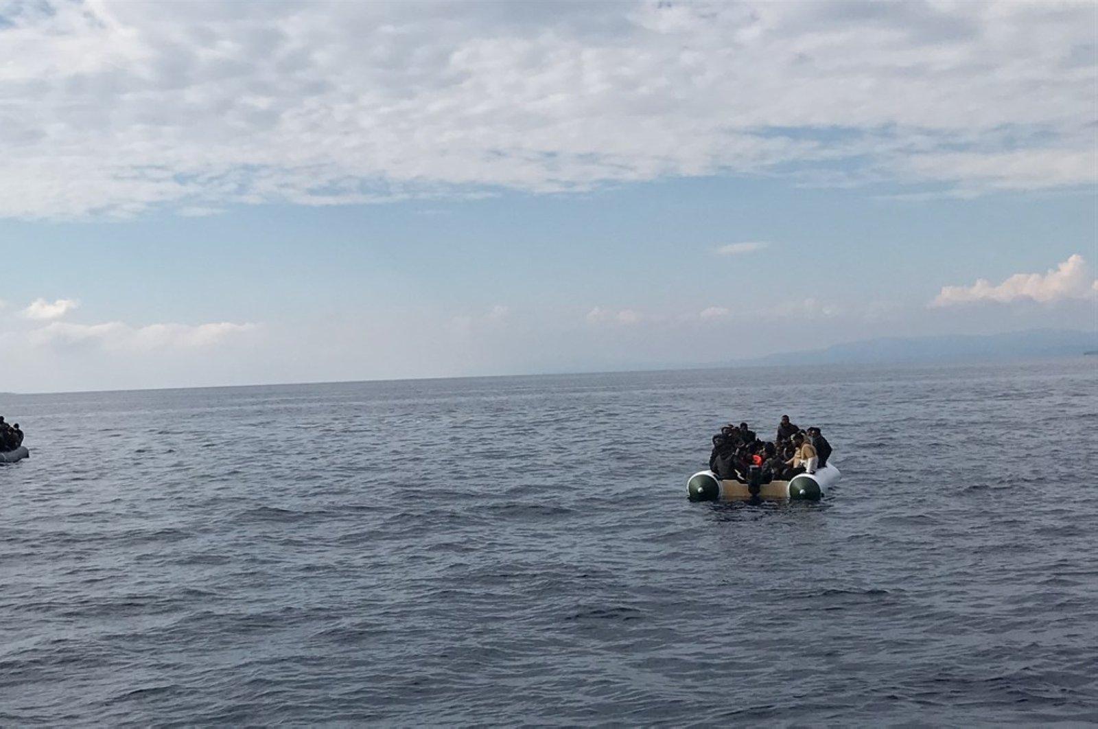 Turkish Coast Guard Command rescues 85 migrants and refugees off Çanakkale province's Aegean coast, June 4, 2020. (AA Photo)