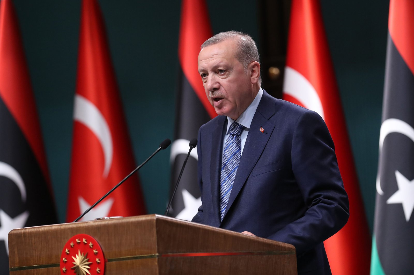 President Recep Tayyip Erdoğan holds a joint news conference with Libyan Prime Minister Fayez al-Sarraj at the Presidential Complex in Ankara, Turkey, June 4, 2020. (AFP Photo)