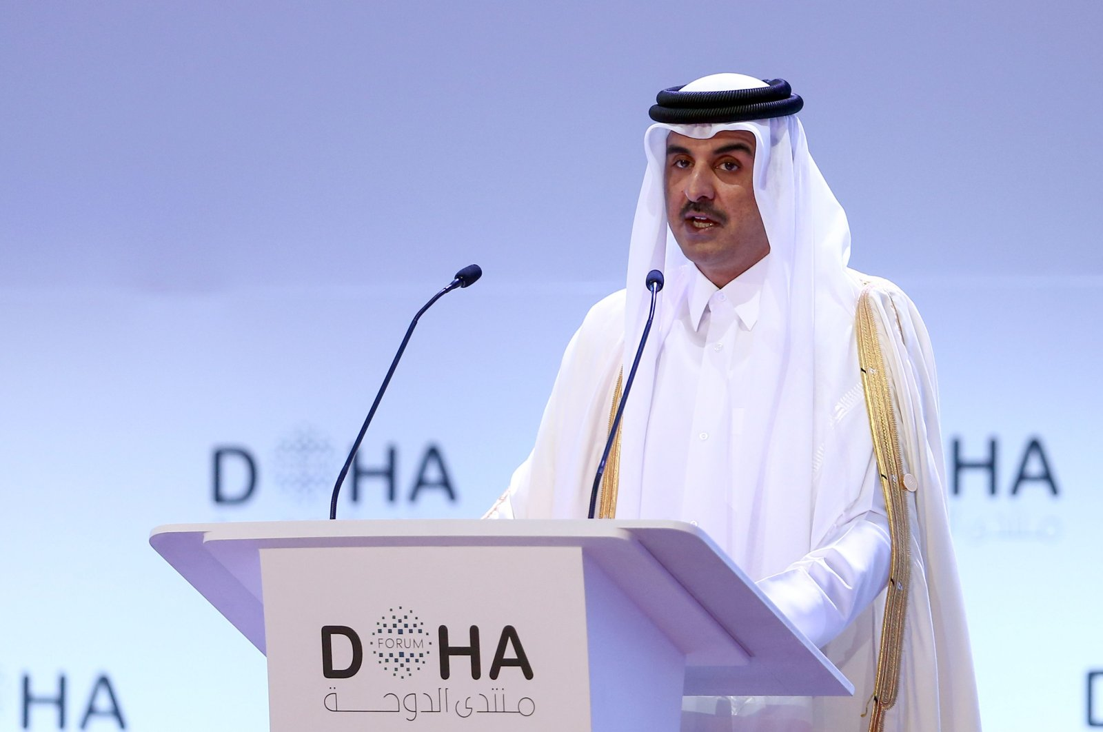 Emir of Qatar Sheikh Tamim bin Hamad al-Thani delivers a speech during the opening session of the Doha Forum in the Qatari capital, December 14, 2019 (AFP Photo)
