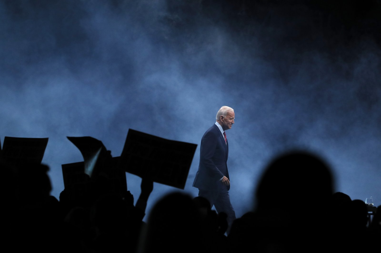 In this Nov. 1, 2019, file photo Democratic presidential candidate former Vice President Joe Biden walks on stage to speak at the Iowa Democratic Party's Liberty and Justice Celebration in Des Moines, Iowa. (AP File Photo)