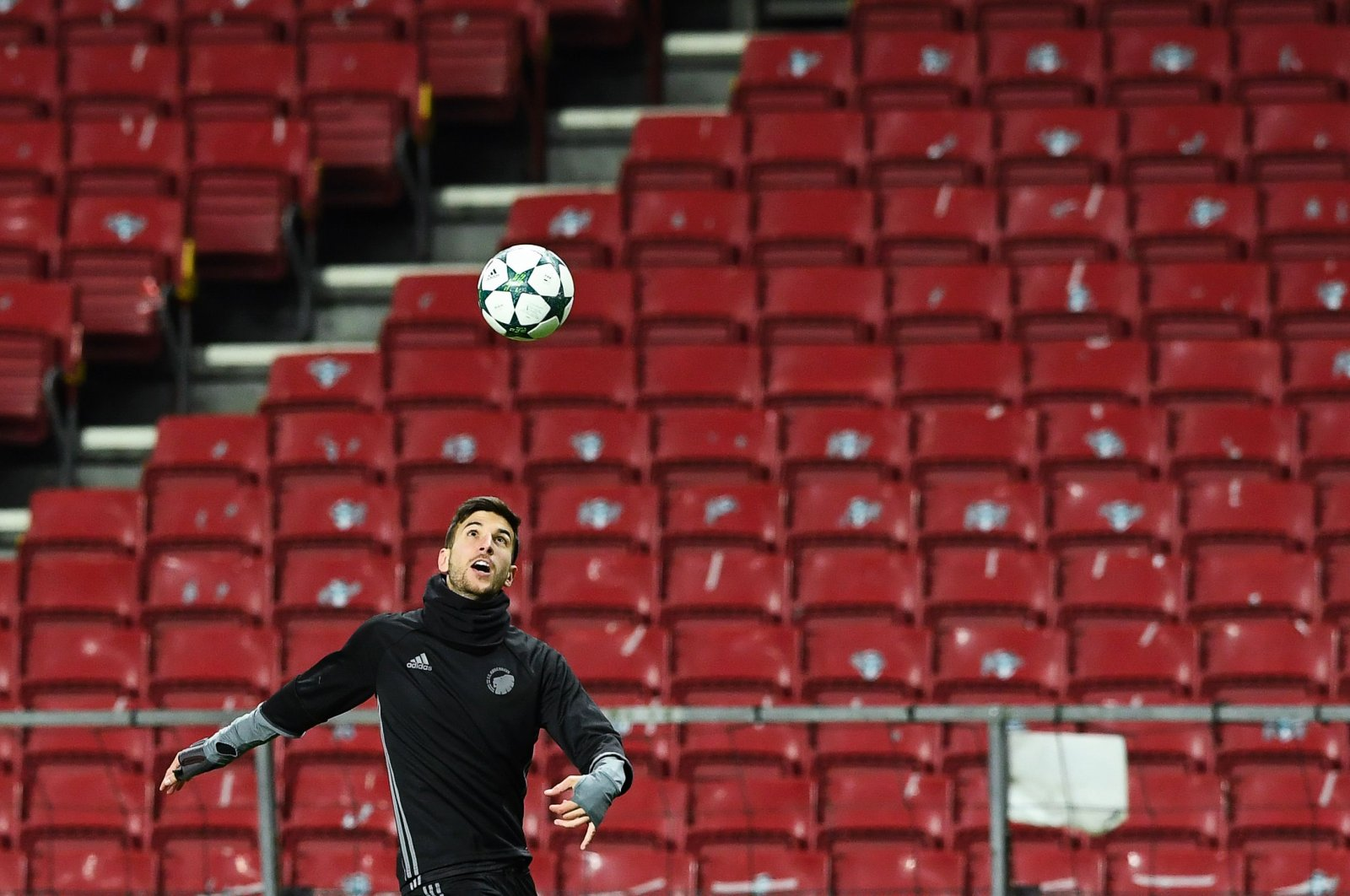 FC Copenhagen's Serbian forward Andrija Pavlovic takes part in a training session at the Parken stadium in Copenhagen, on November 1, 2016, on the eve of their UEFA Champions League group G football match against Leicester City. (AFP Photo)