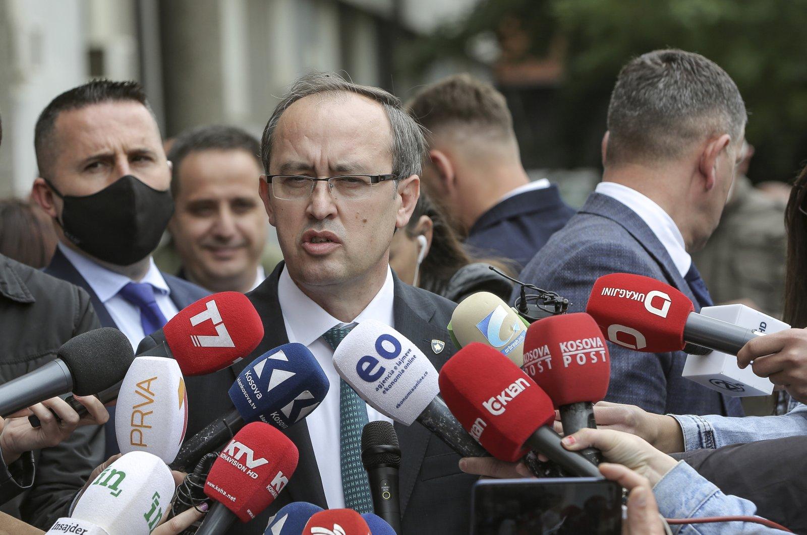 Newly elected Prime Minister Avdullah Hoti, speaks to the media in the capital Pristina, Kosovo, June 3, 2020. (AP Photo)