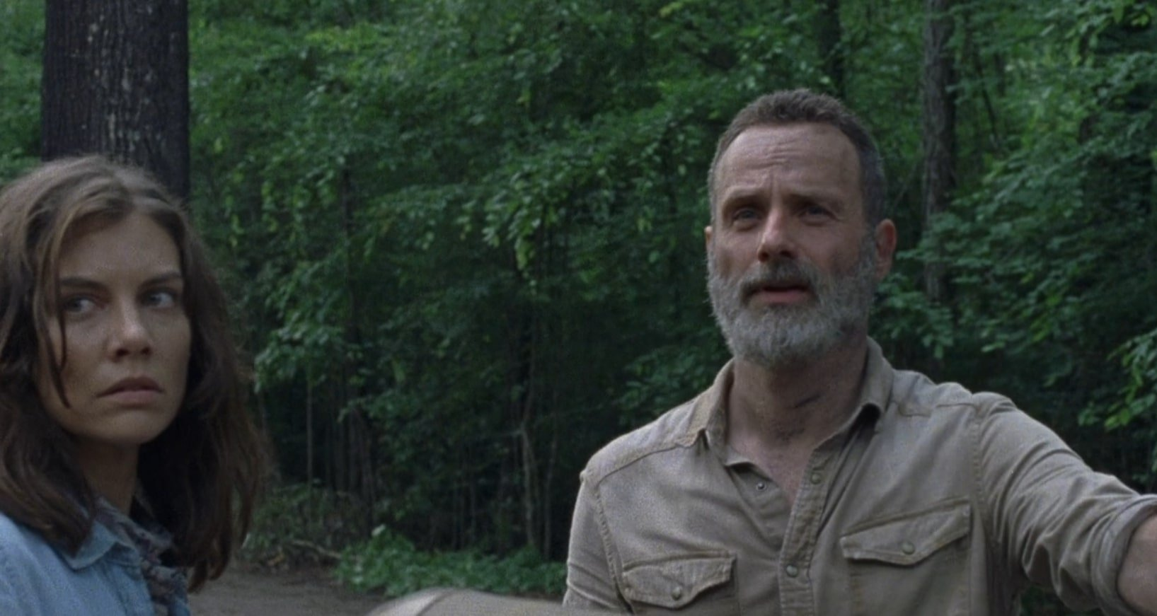 A still from season 9 episode 3 shows Maggie and Rick.