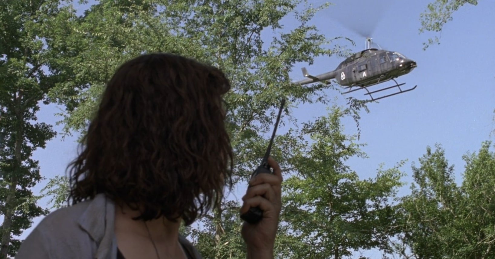 Dans l'épisode 5 de la saison 9, Jadis convainc l'hélicoptère de sauver Rick.  Le symbole sur l'hélicoptère attire l'attention.