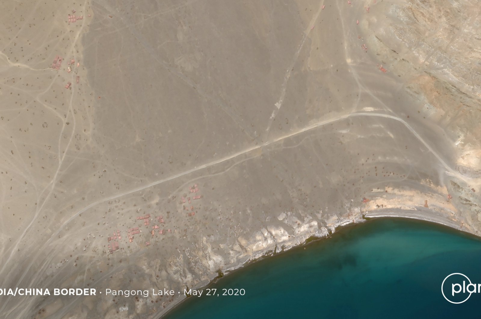 Buildup at the Line of Actual Control on the disputed border between China and India is seen in this handout satellite image of Pangong Lake, May 27, 2020. (REUTERS Photo)