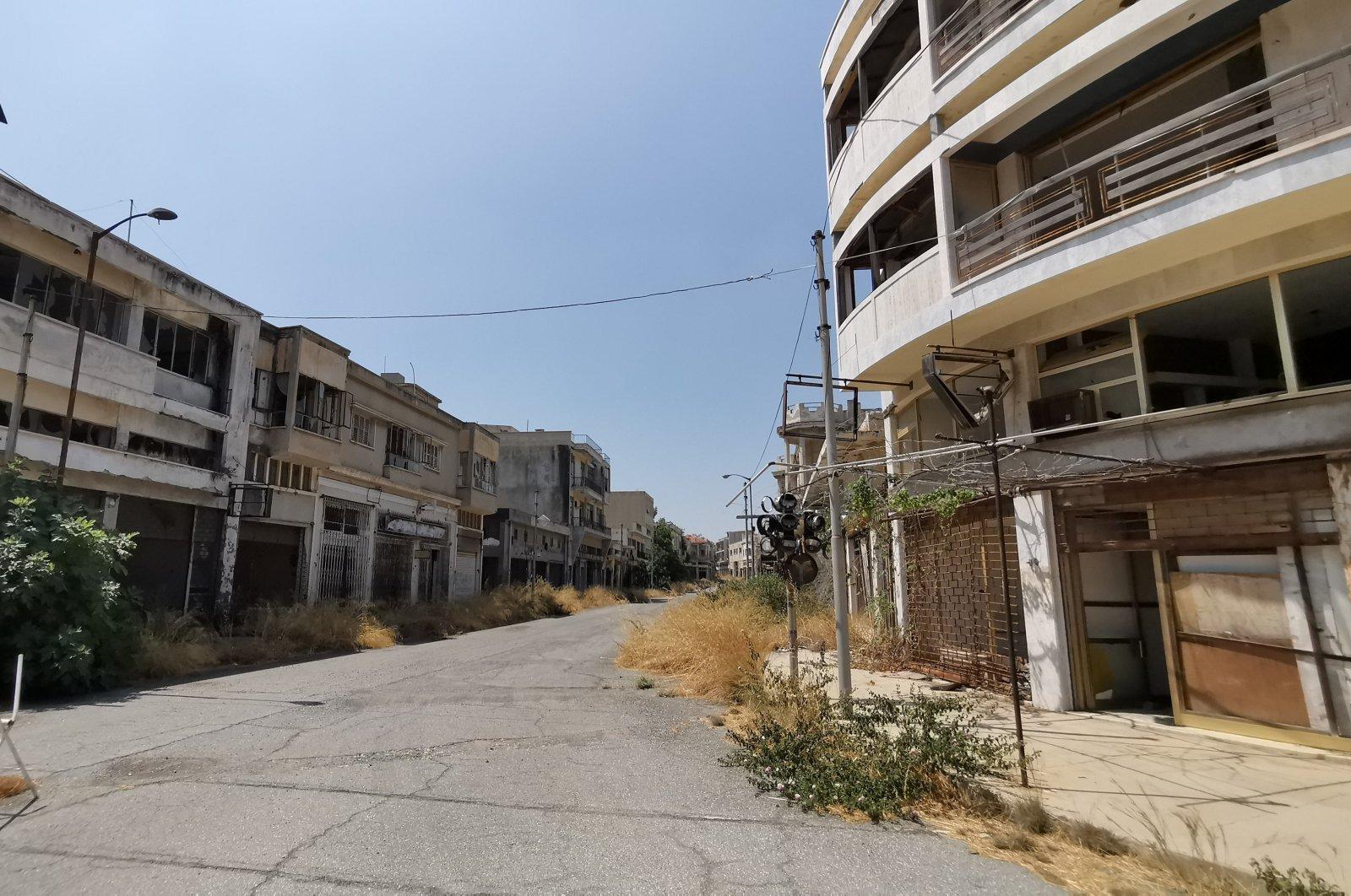 A view of the abandoned town Varosha (Maraş) in northern Cyprus, Sept. 2, 2019. (İHA Photo)