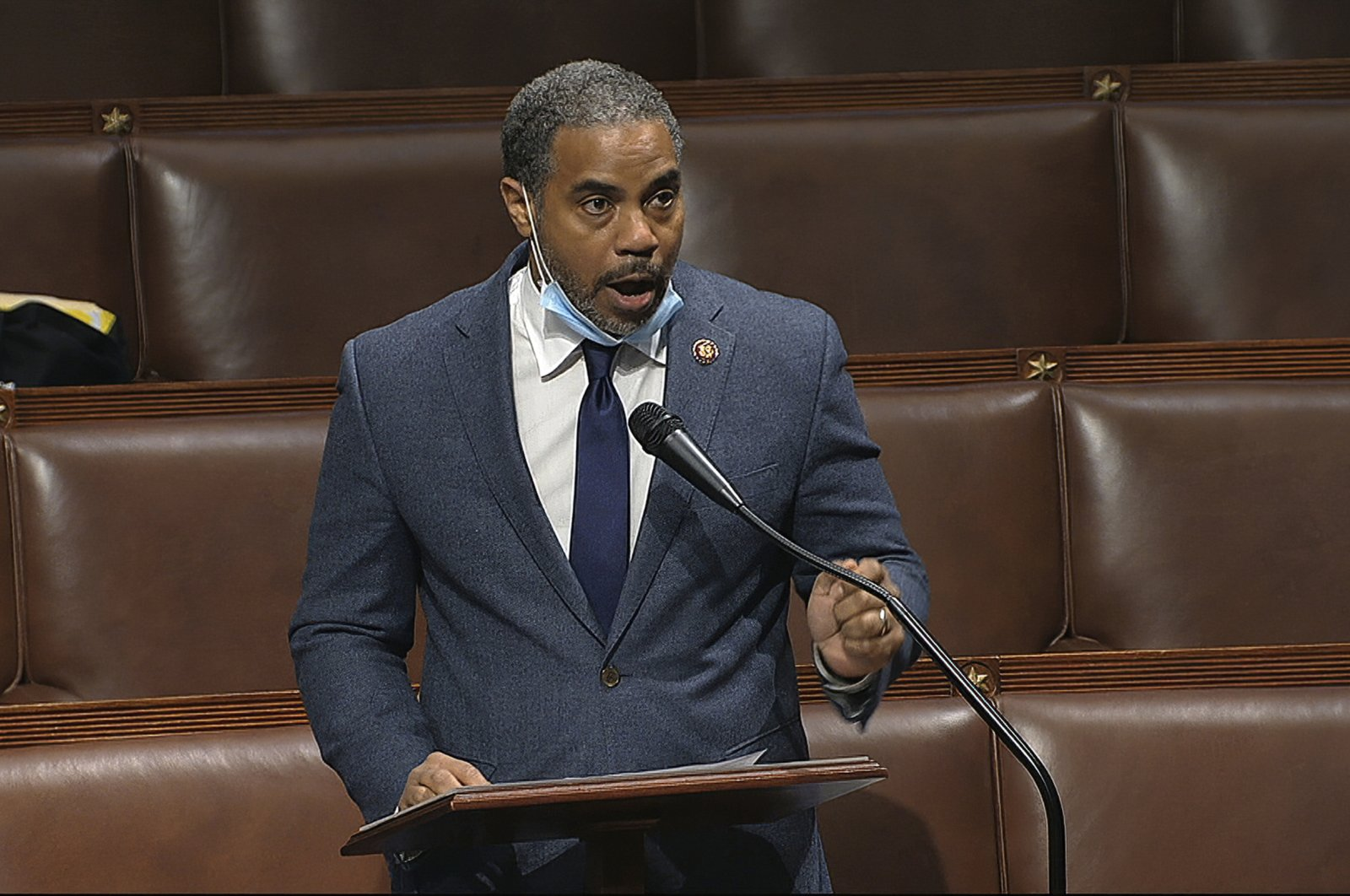 Congressional Black Caucus (CBC) member Rep. Steven Horsford, speaks on the floor of the House of Representatives at the U.S. Capitol, Washington, D.C., April 23, 2020. (AP Photo)