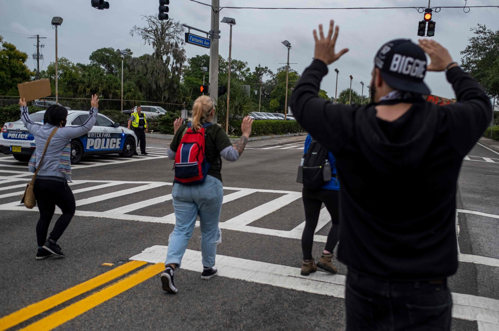 Protesters march during a rally in response to the recent death of George Floyd while in police custody in Minneapolis, in Winter Park, Florida on June 7, 2020. (AFP Photo)