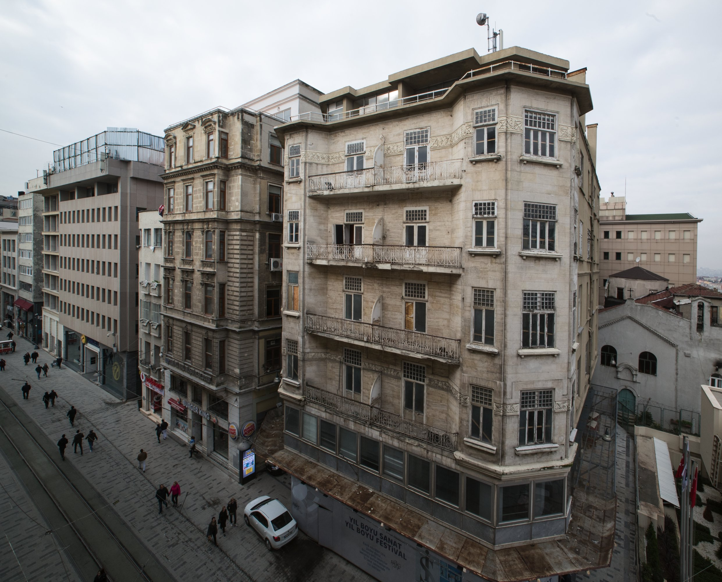 The historical building is located on Istiklal Avenue in Istanbul's Beyoğlu district.