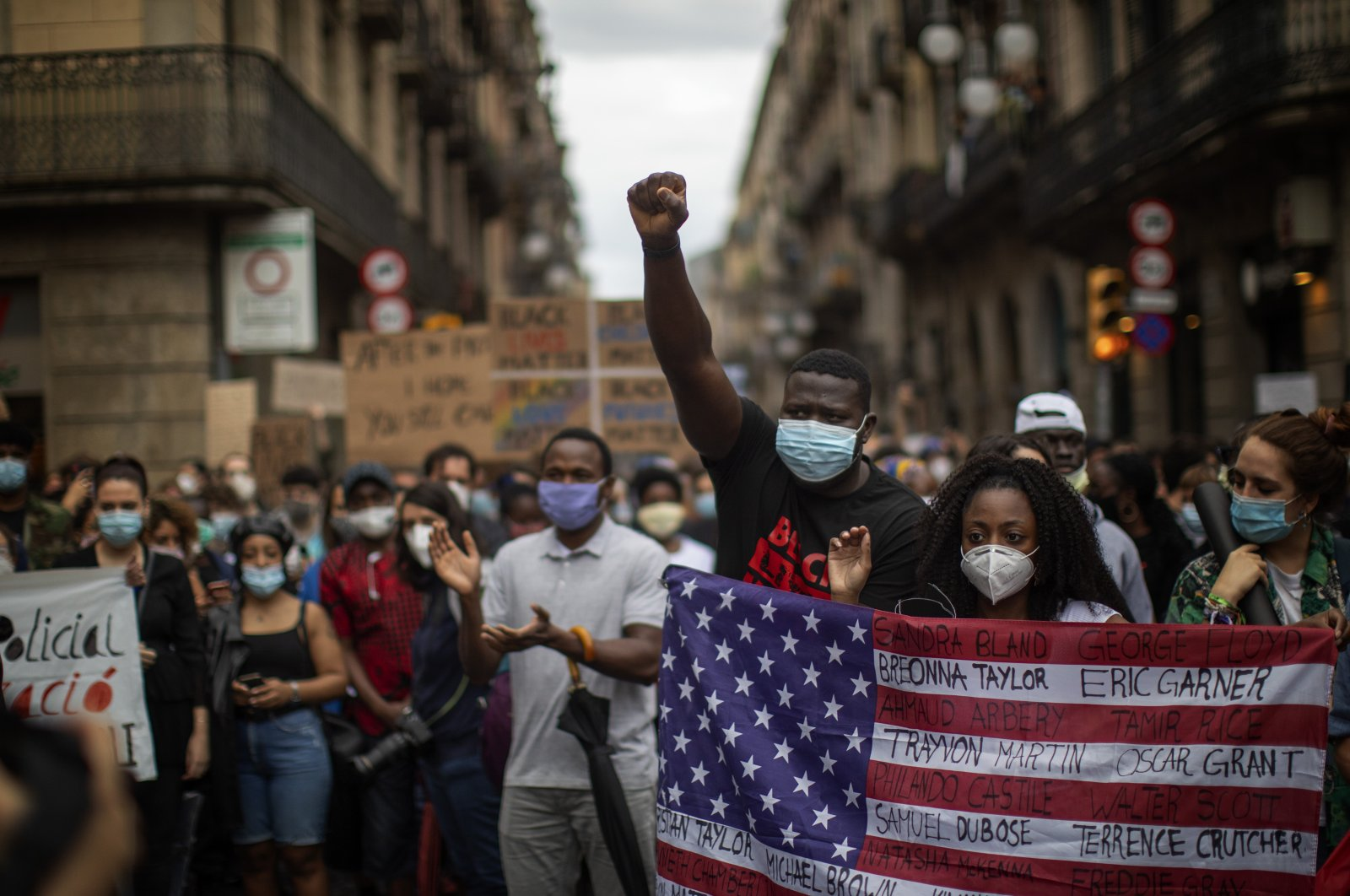 People gather during a demonstration over the death of George Floyd, Barcelona, Spain, June 7, 2020. (AP Photo)