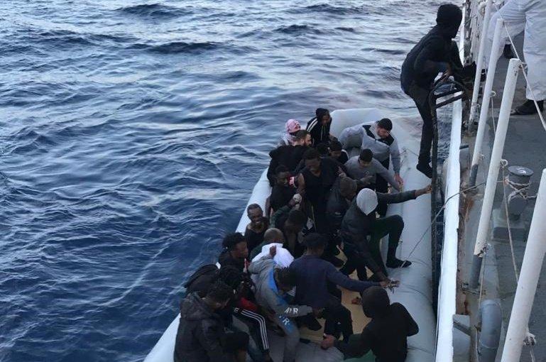 The Turkish coast guard rescued 36 asylum seekers off the Aegean coast of Çanakkale's Ayvacık district, June 8, 2020. (AA Photo)