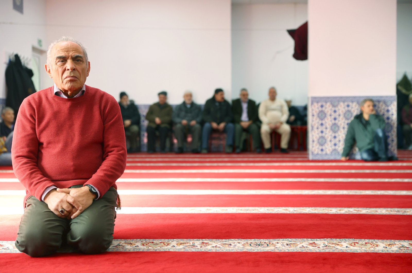 Men attend the Friday prayer following a shooting, at the mosque in Hanau, near Frankfurt, Germany, Feb. 21, 2020. (Reuters Photo)