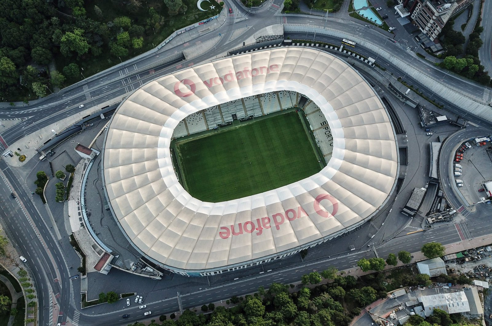 An aerial view of Vodafone Park, in Istanbul, Turkey, May 19, 2020.(AFP Photo)