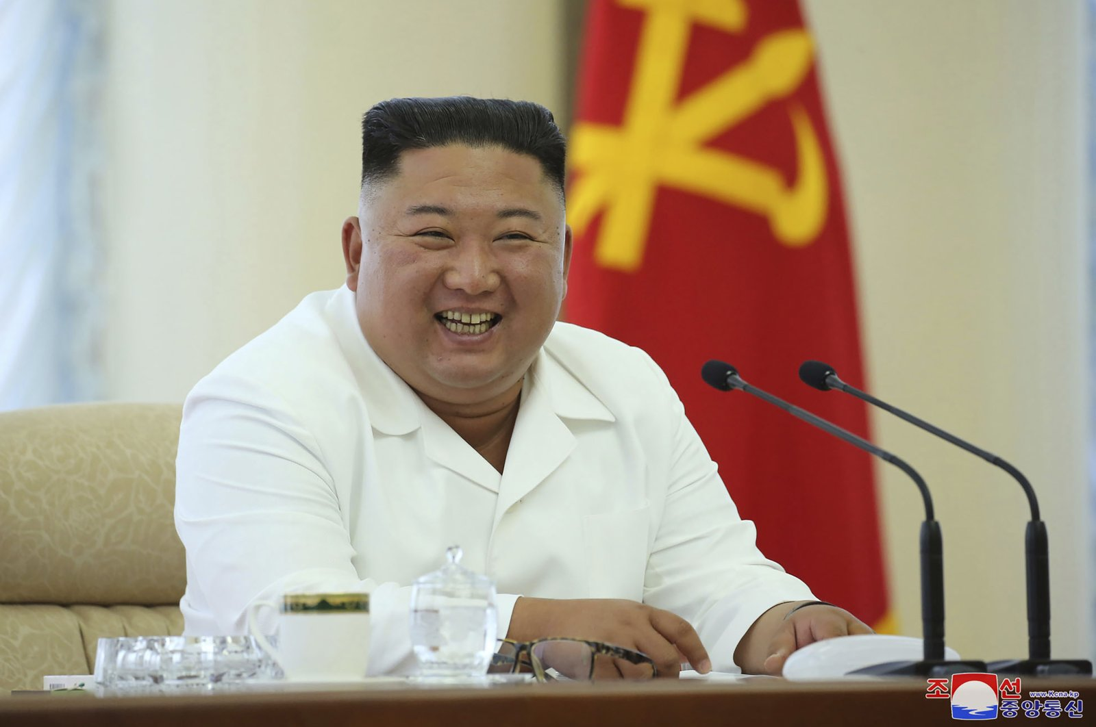 In this photo provided by the North Korean government, North Korean leader Kim Jong Un attends a meeting of the Politburo of the Central Committee of the Workers' Party of Korea in North Korea, June 7, 2020. (AP Photo)