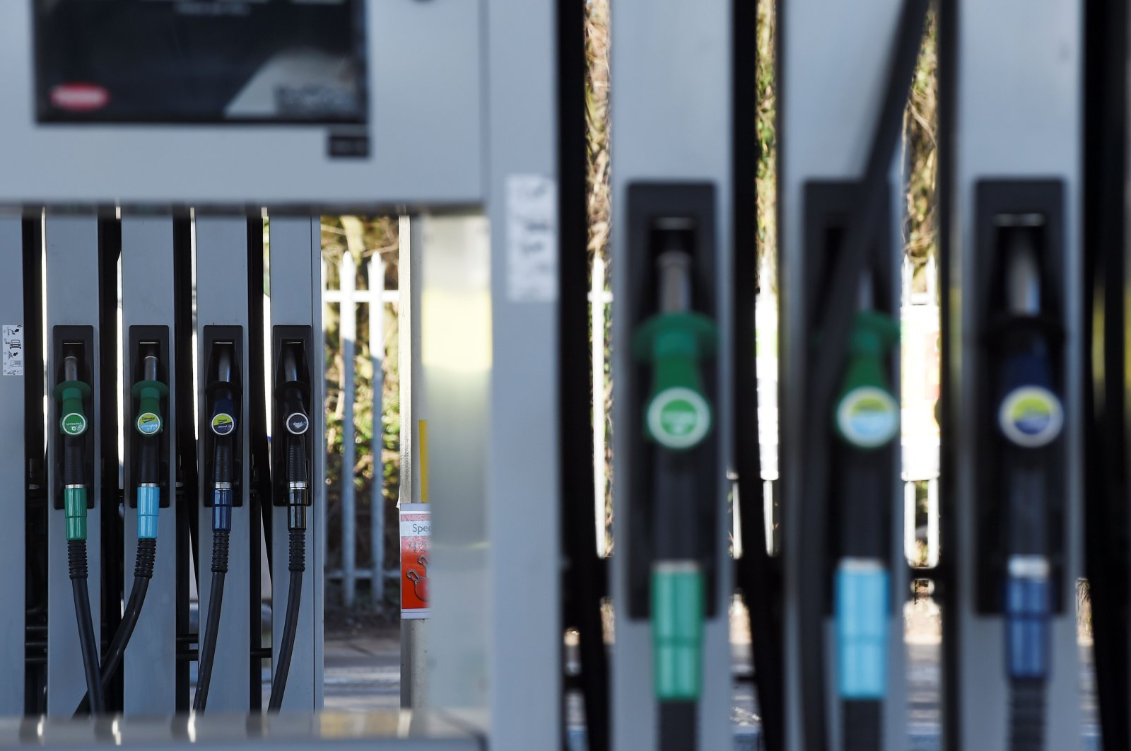 Petrol pumps are seen at a BP petrol station in Liverpool, northwest England, Feb. 7, 2018. (AFP Photo)