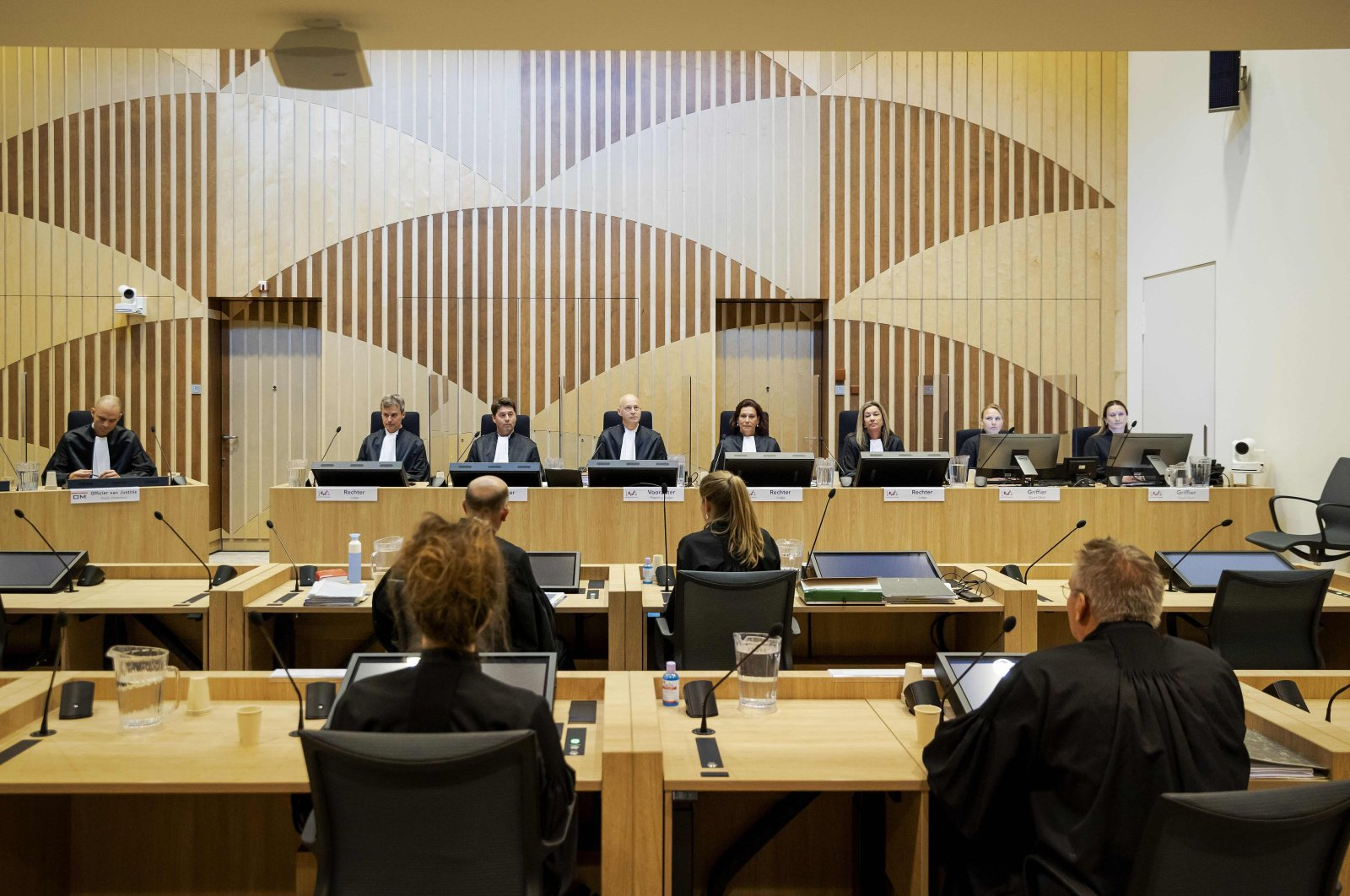 Judges and lawyers attend the third session of the sampling process surrounding the downing of flight MH17 at the Schiphol Judicial Complex, Badhoevedorp, June 8, 2020. (AFP Photo)
