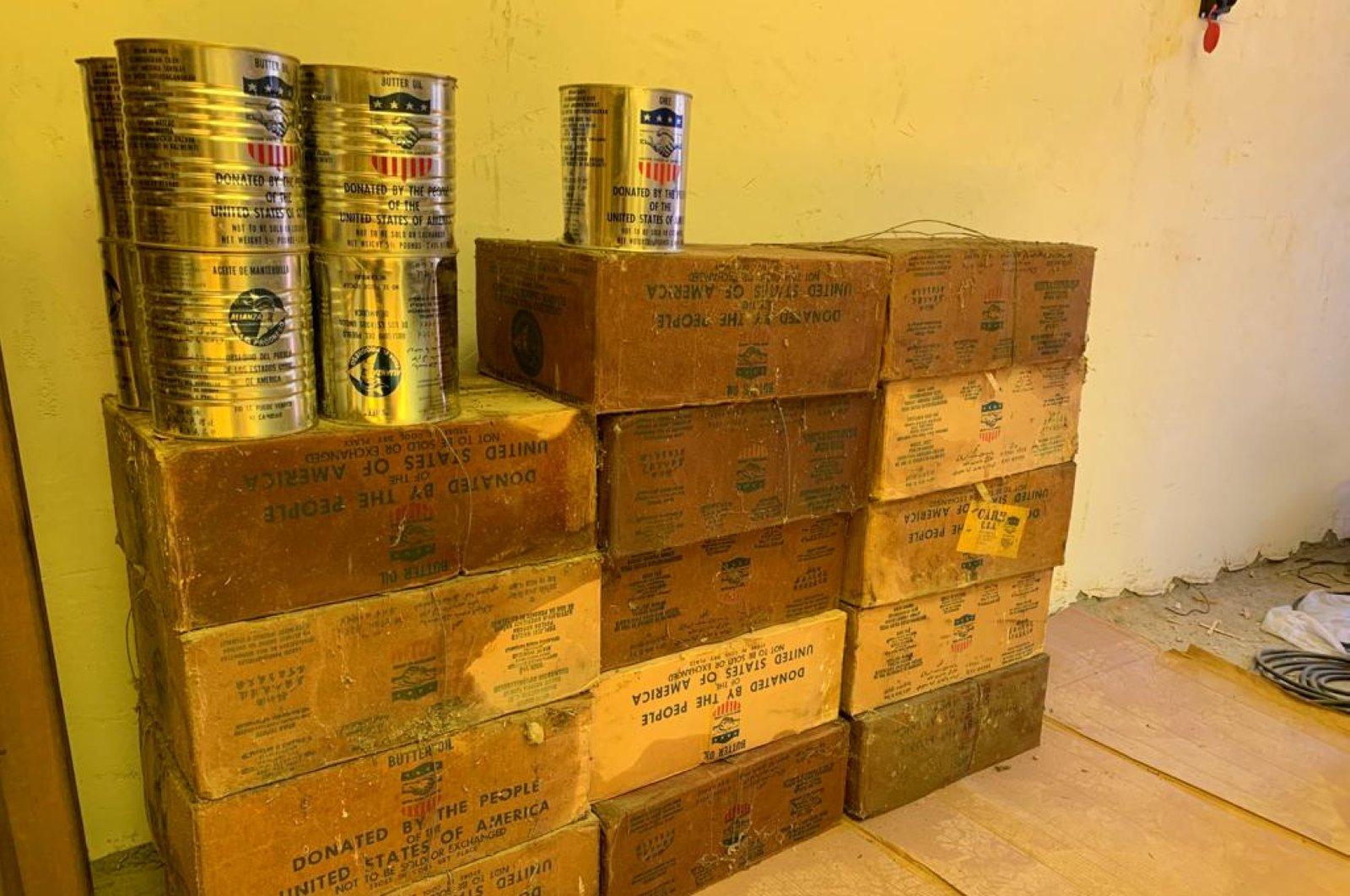 U.S. margarine found in the roof of an evacuated school, Elazığ province, Turkey, June 6, 2020. (DHA Photo)
