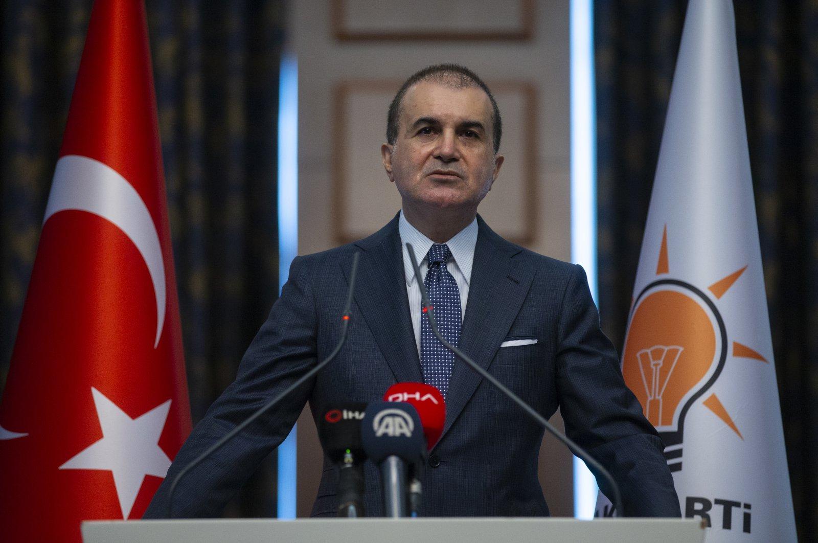 Ömer Çelik speaks at a news conference in Ankara, Turkey, May 4, 2020. (AA Photo)