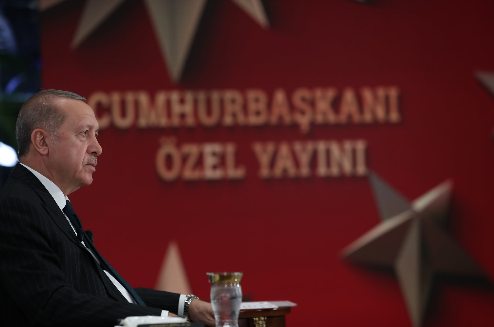 President Recep Tayyip Erdoğan during a live interview with broadcaster TRT, June 8, 2020. (AA Photo)
