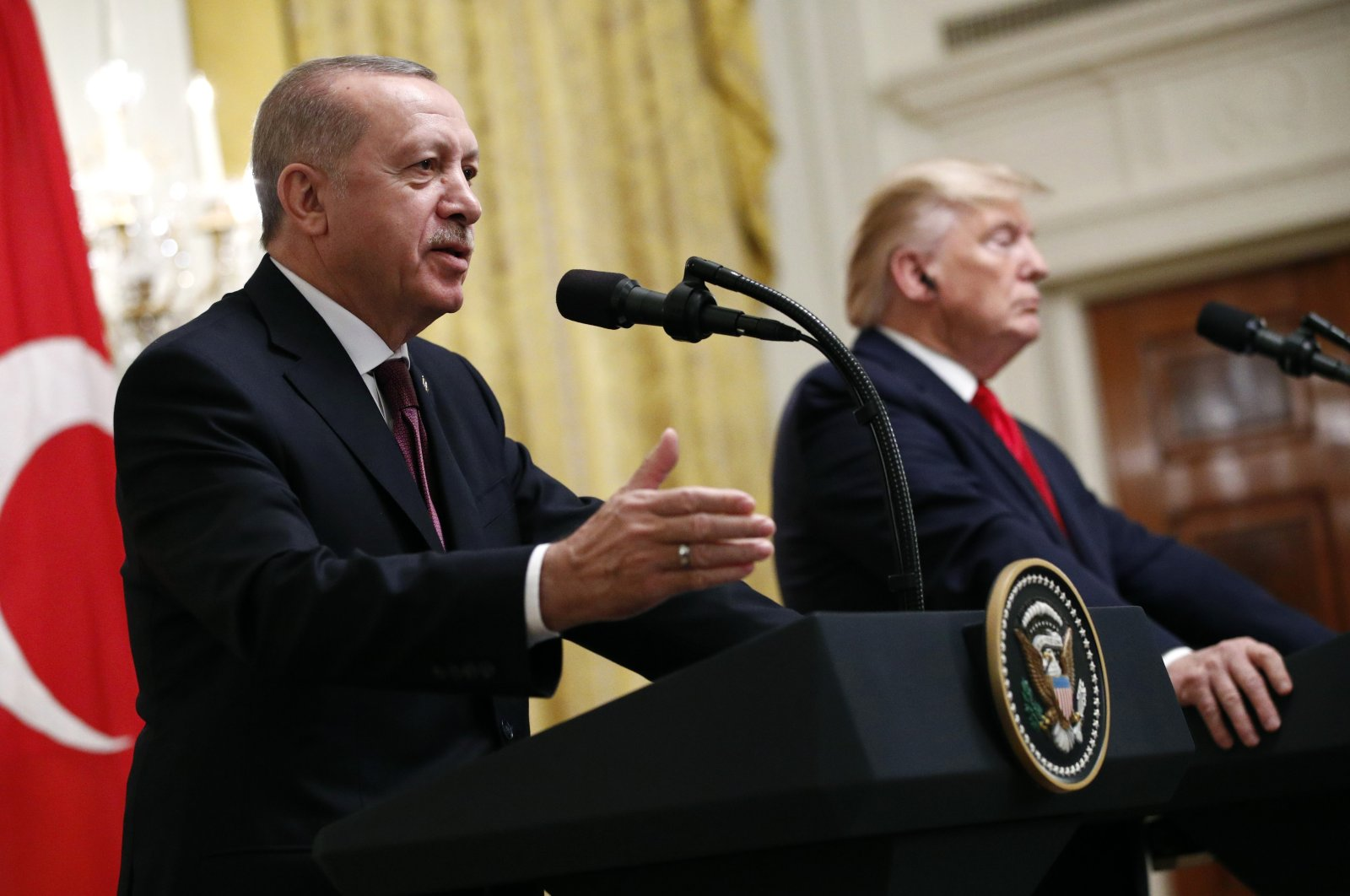Turkish President Recep Tayyip Erdoğan speaks at a news conference alongside President Donald Trump in the East Room of the White House in Washington, D.C., U.S., Nov. 13, 2019. (AP Photo)