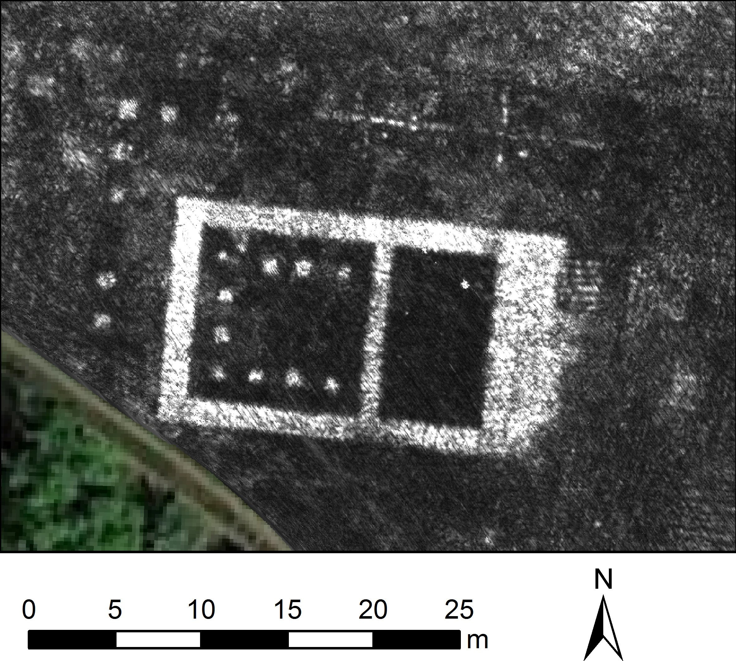 A slice of Ground Penetrating Radar (GPR) data from the ancient Roman city of Falerii Novi in Italy reveals the outlines of the town's buildings (University of Cambridge handout photo via REUTERS)