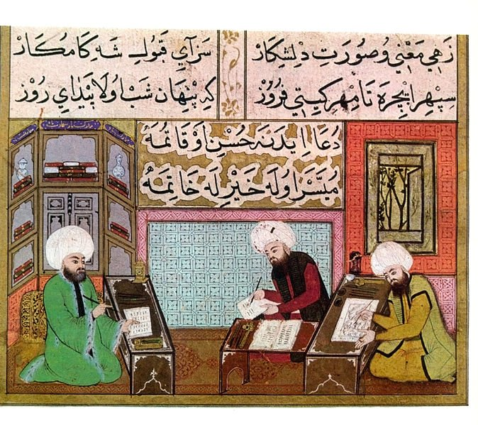 A miniature depicting the Nakkaşhane institution, where artisans come together in Topkapı Palace.