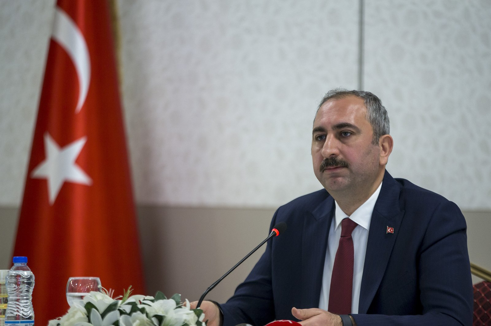 Justice Minister Abdülhamit Gül speaks to reporters in a news conference on May 4, 2020 (AA File Photo)