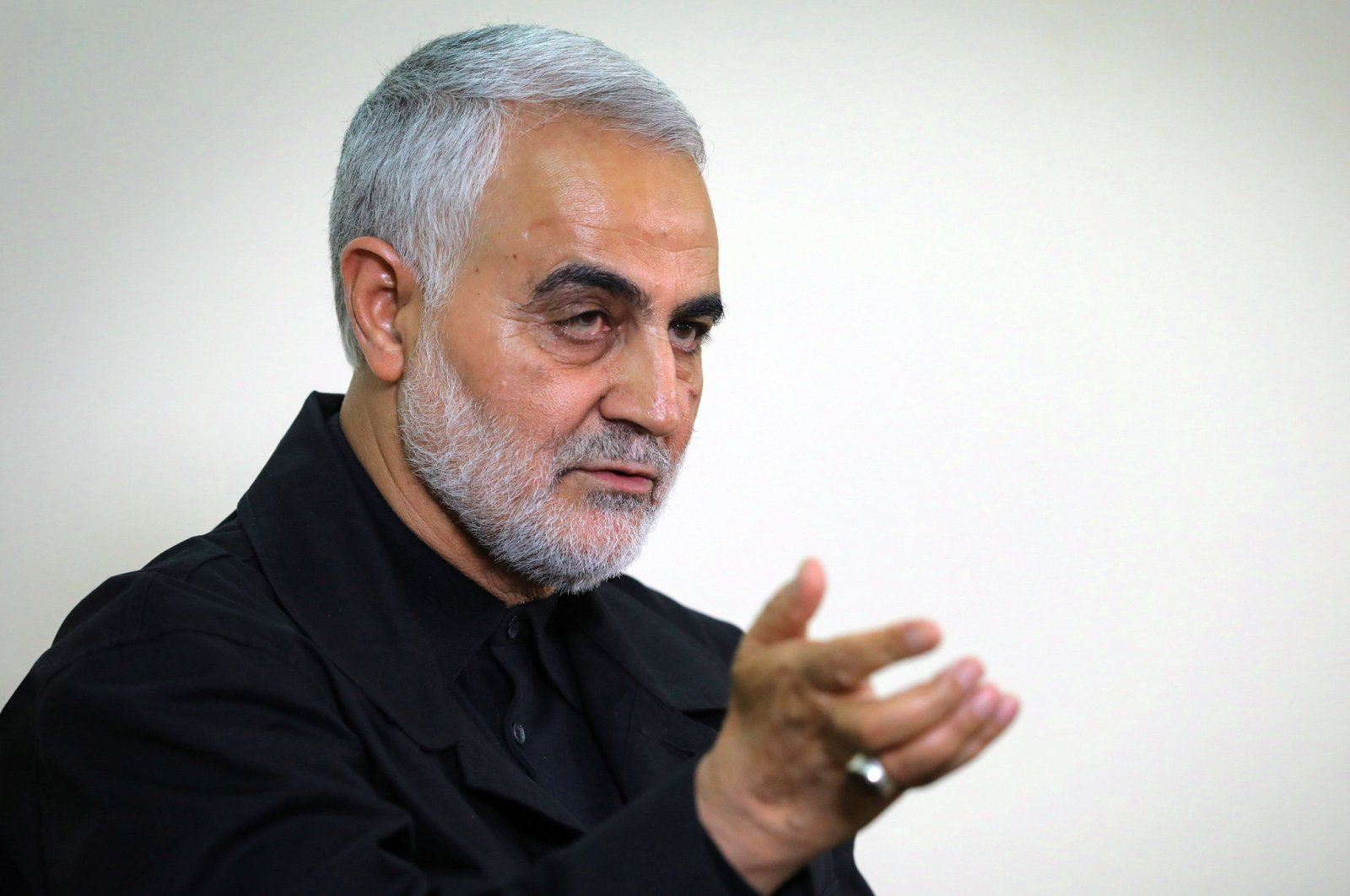 Qasem Soleimani, Iranian Revolutionary Guards Corps (IRGC) major general and commander of the Quds Force, speaking during an interview with members of the Iranian leader's bureau in Tehran, Oct. 1, 2019. (AFP Photo/Khamenei.ir)
