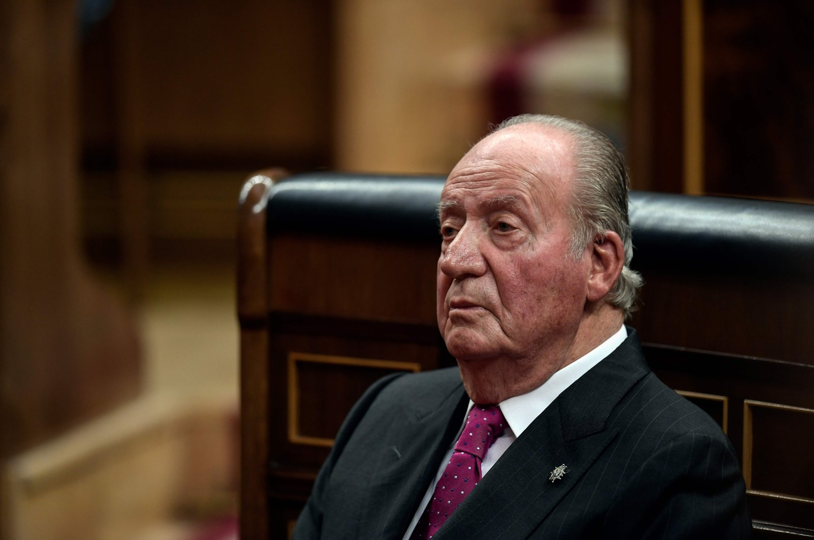 Spain's former King Juan Carlos attends commemorative acts marking the 40th anniversary of the Spanish Constitution at the parliament, Madrid, Dec. 6, 2018. (AFP Photo)