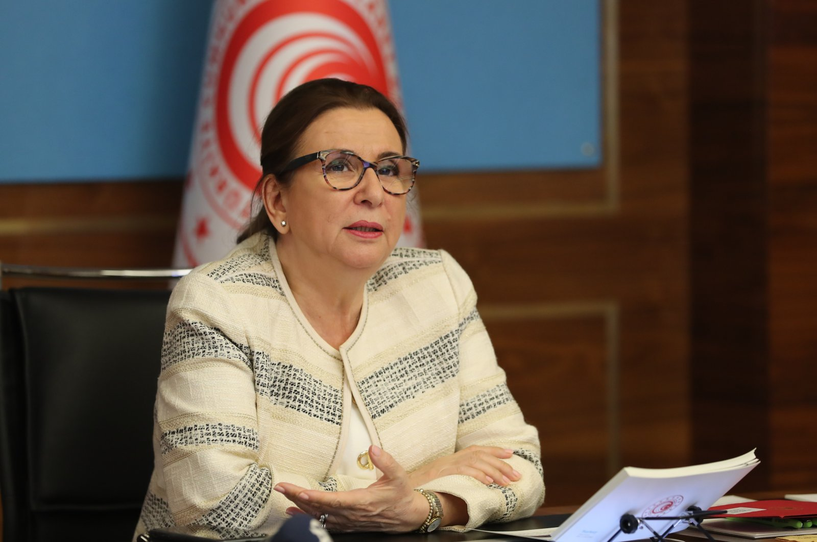 Trade Minister Ruhsar Pekcan speaks during an advisory council meeting, Ankara, June 7, 2020. (İHA Photo)