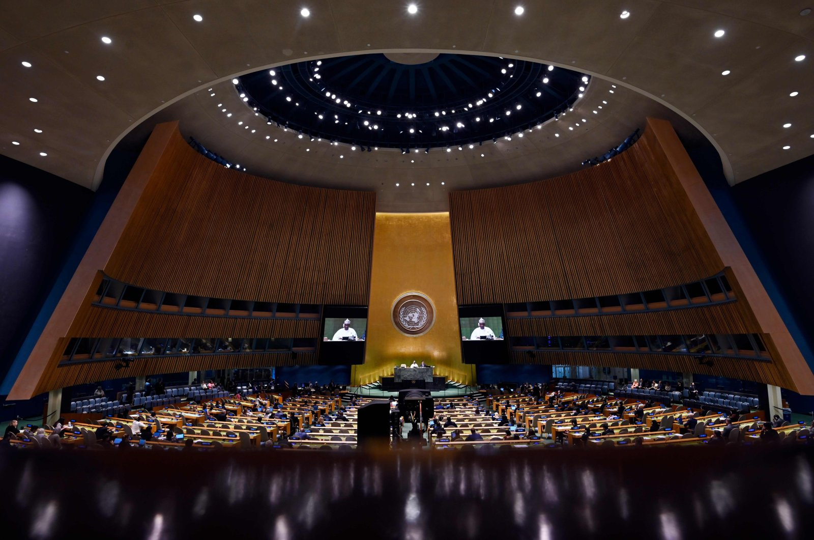 General Assembly President Tijjani Muhammad-Bande speaks during the 74th session of the United Nations General Assembly at the United Nations Headquarters in New York City, New York, U.S., Sep. 28, 2019. (AFP Photo)