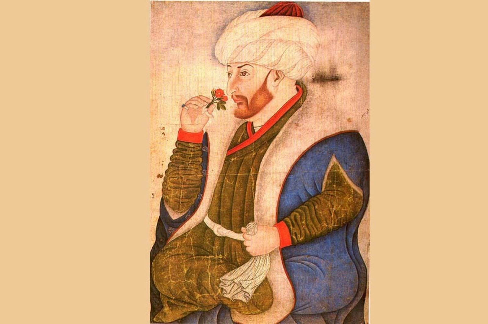 A portrait of Sultan Mehmed the Conqueror by artist Sinan Bey.