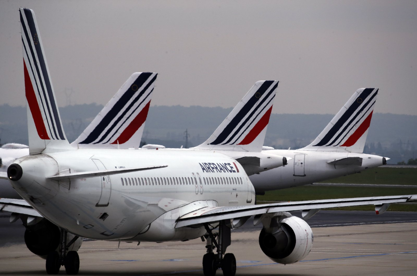 Air France planes are parked on the tarmac at Paris Charles de Gaulle airport, in Roissy, near Paris, May 17, 2019. (AP Photo)