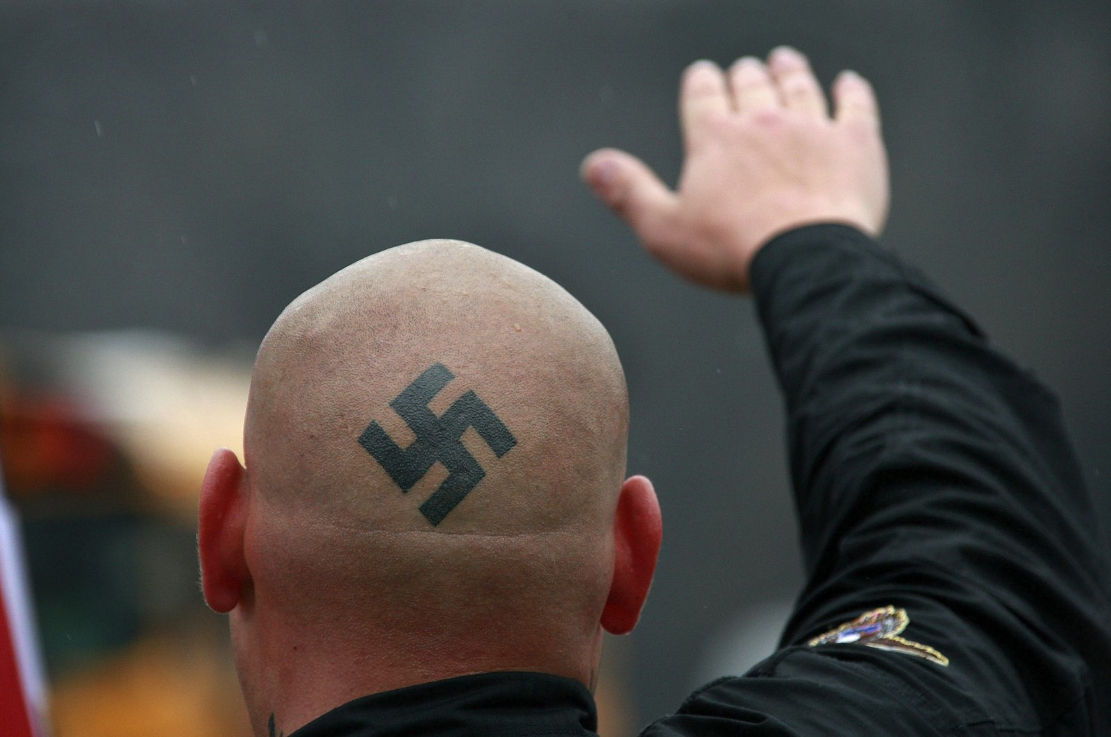 Neo-Nazi protesters demonstrate in Skokie, Illinois, U.S., April 19, 2009. (Getty Images)