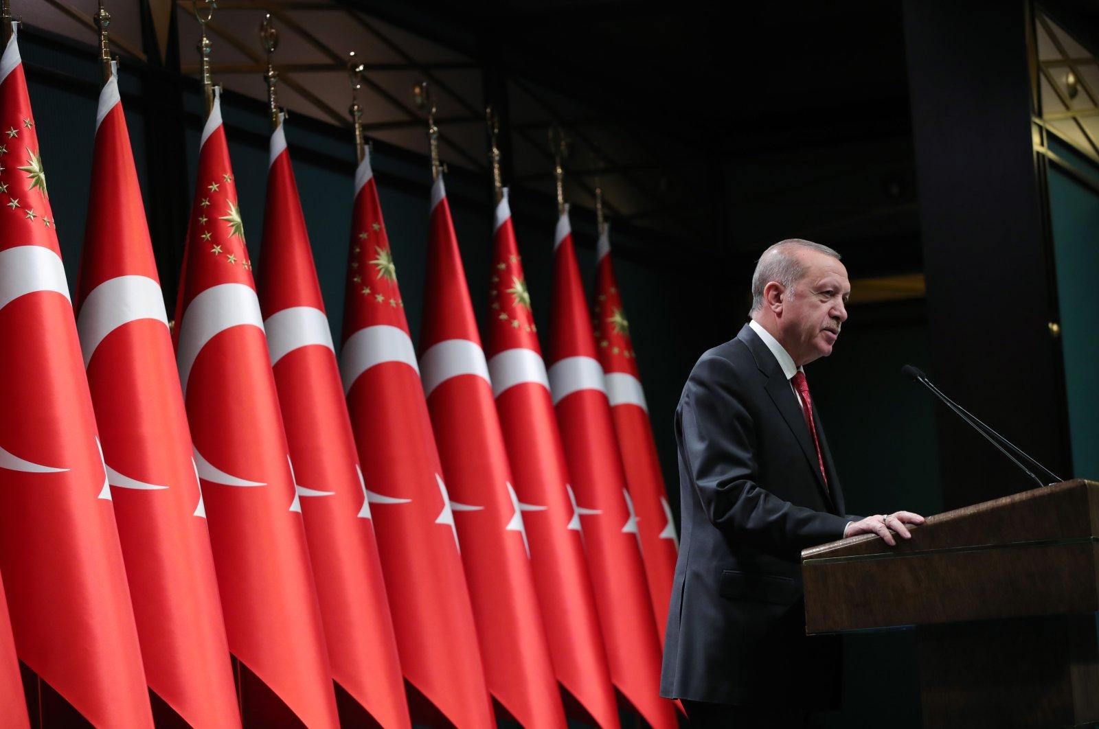 President Recep Tayyip Erdoğan speaks after a Cabinet meeting in Ankara, June 9, 2020.