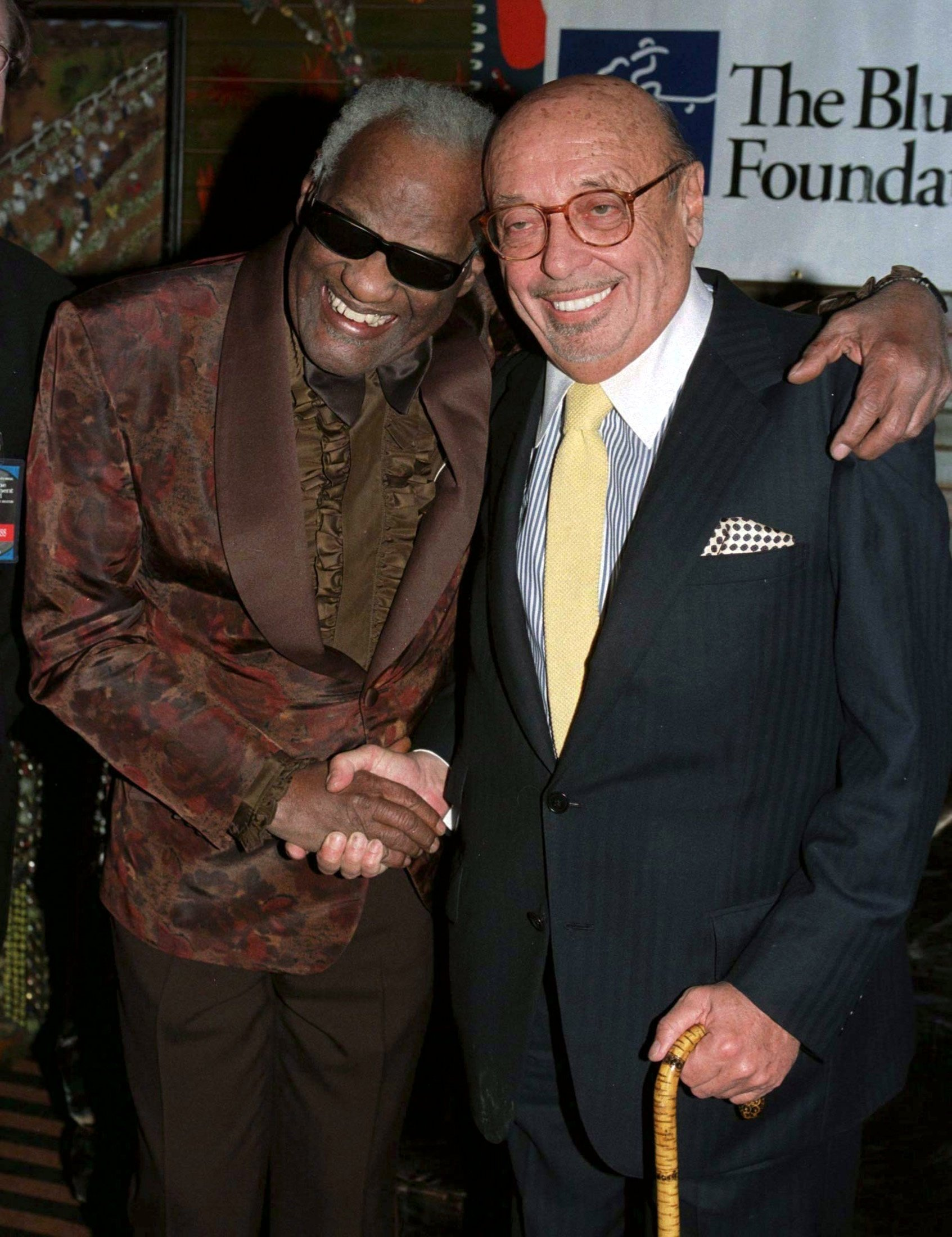 Ray Charles and Ahmet Ertegun posing backstage at Blues Foundation event in West Hollywood in this undated photo. (REUTERS PHOTO)
