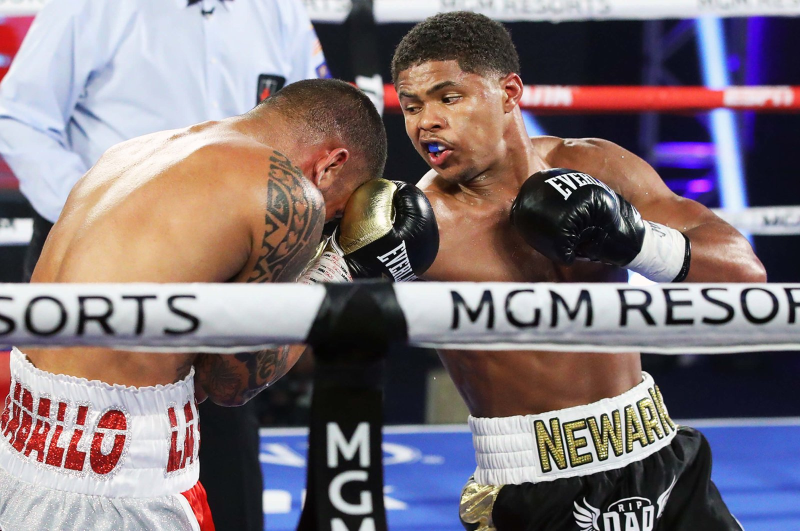 Shakur Stevenson punches Felix Caraballo during their super featherweight bout in Las Vegas, Nevada, U.S., June 9, 2020. (Photo by Top Rank via Getty Images)